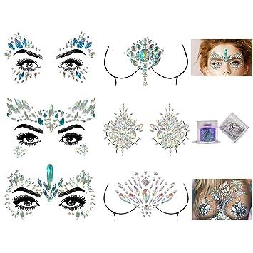 6254a78fb Face Gems, Aufisi Mermaid Face Jewels Festival Face Glitter Rhinestones  Rave Eyes Body Bindi Temporary