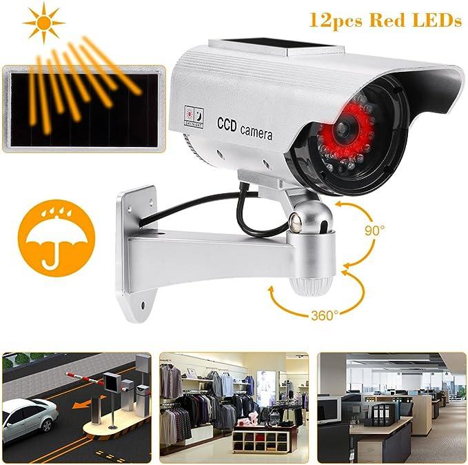 Kkmoon Dummy Überwachungskamera Regensichere Solarbetriebene Drahtlose Steuerung Mit Led Licht Für Den Innen Und Außenbereich Baumarkt