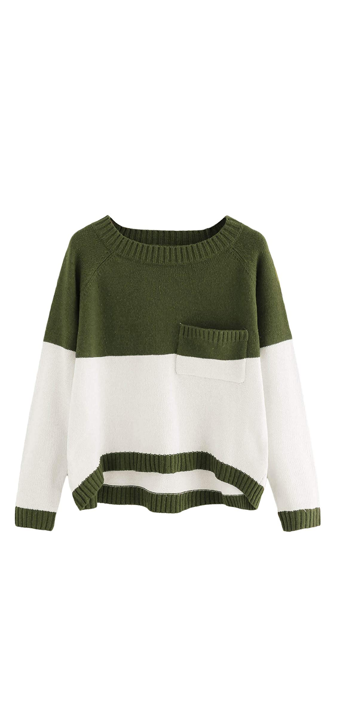 Women's Two Tone Marled Knit High Low Sweater