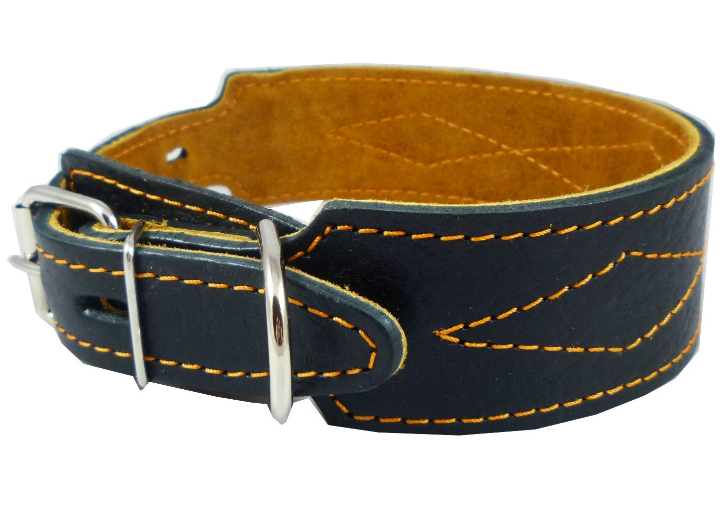Real Leather Tapered Dog Collar 1.75  Wide, Fits 15 -19  Neck, Medium