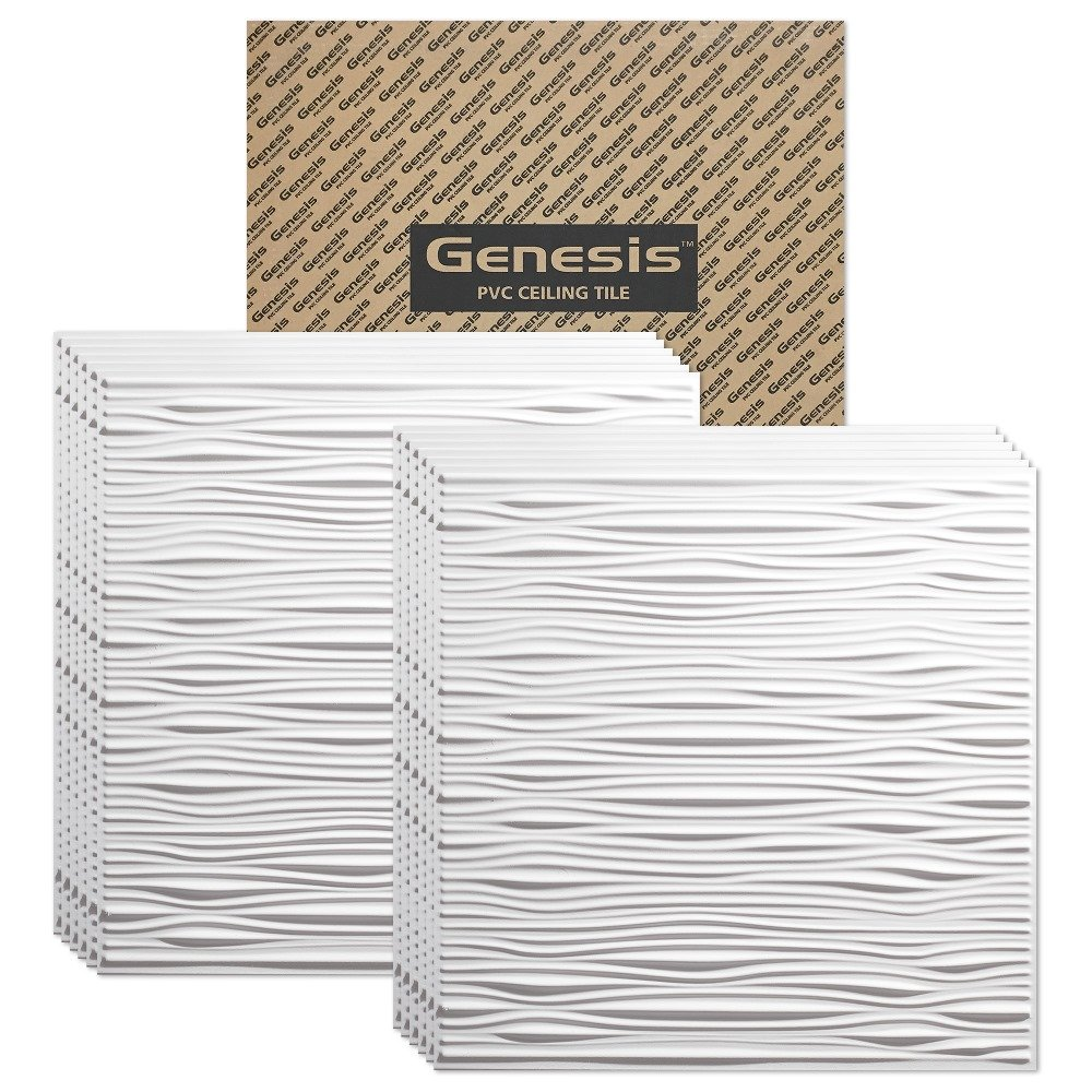Genesis - Drifts White 2x2 Ceiling Tiles 3 mm thick (carton of 12) – These 2'x2' Drop Ceiling Tiles are Water Proof and Won't Break - Fast and Easy Installation (2' x 2' Tile) by Genesis