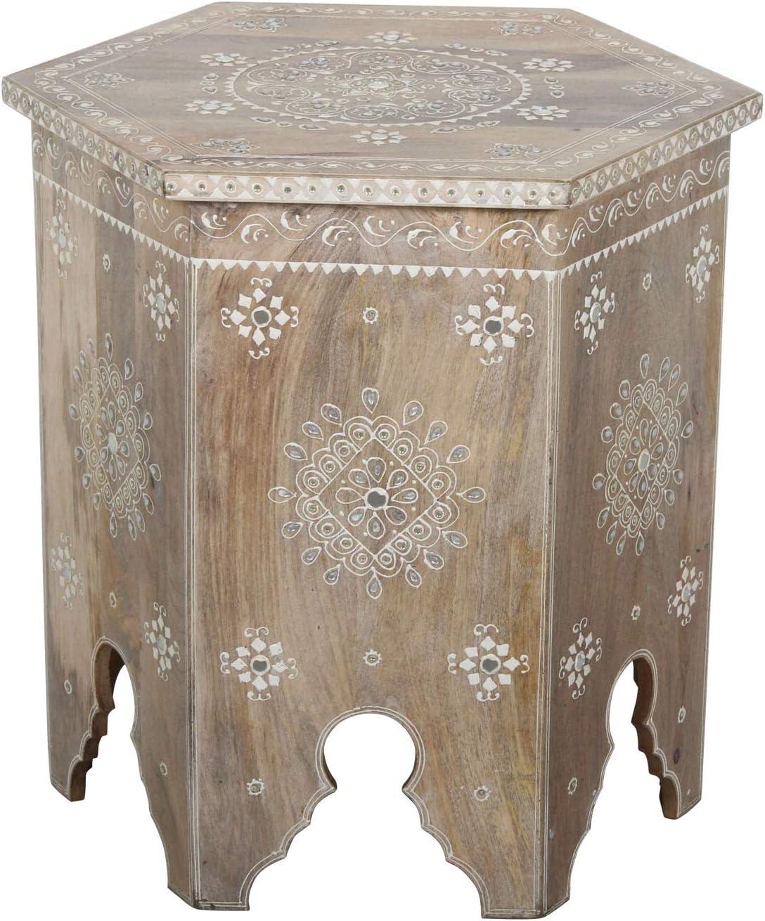 Table d/´appoint en Bois de manguier Fais /á la Main Style Shabby Chic Aamir RK38-20-A