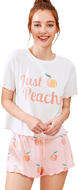 Milumia Women Graphic Letter Print Short Sleeve Tee Tops and Shorts Cute Sleepwear Loungewear Pajama Sets