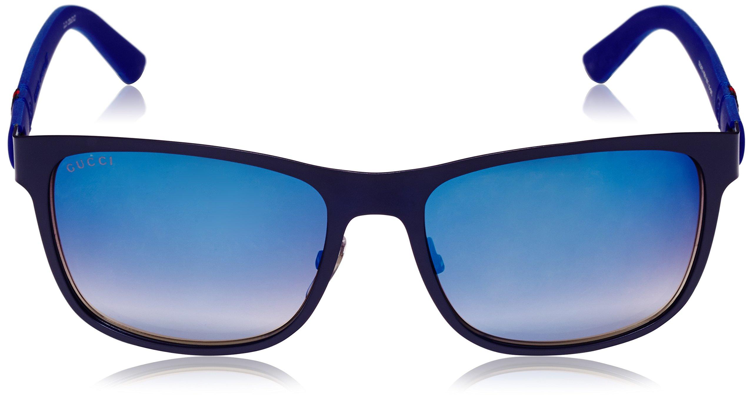 Gucci Men's Square Sunglasses, Matte Blue/Grey Multi, One Size by Gucci (Image #2)