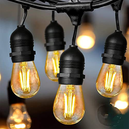 Albrillo LED Outdoor String Lights – 48FT Outdoor Patio Lights String S14 with 2W Dimmable Vintage Edison Bulbs, 15 sockets, Waterproof IP65, UL Listed, Commercial Grade, for Garden Backyard Party