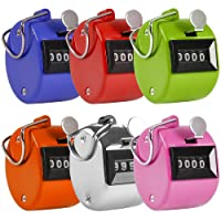 AFUNTA Pack of 6 Color Hand Held Tally Counter 4 Digit Mechanical Palm Clicker Counter - Assorted Color Handheld Tally Counter Lap/Sport/Coach/School/Event