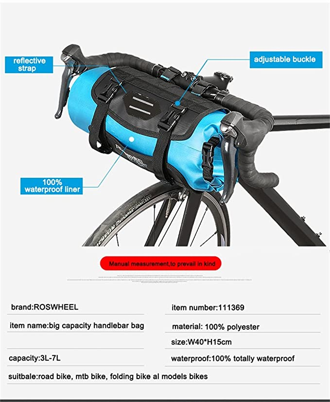 Amazon.com: ROSWHEEL - Bolsa para manillar de bicicleta, 7 L ...