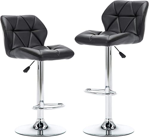 NOBPEINT Shell Back Adjustable Swivel Bar Stools, Black Set of 2