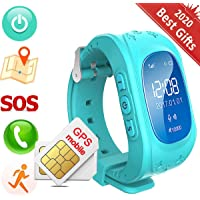 ELEAD Children Smartwatches GPS Tracker Outdoor Indoor Location Two Way Call Kids Wrist Touch-Screen Voice Chat Watch Phone Sim Card Anti-lost SOS Bracelet Funny Birthday Gift for Boys Girls (Blue)