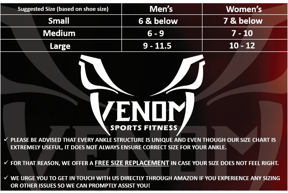Venom Neoprene Ankle Brace Lace Up Support - Adjustable Stabilizers & Elastic Compression for Sprained Foot, Tendonitis, Basketball, Volleyball, Soccer, MMA, Athletics, Running, Sports, Men, Women (M) by Venom Sports Fitness