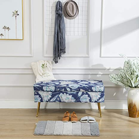 Amazon Com Mid Century Storage Bedroom Benches Rectangular Fabric Entryway Bed Shoe Bench With Gold Plating Metal Legs Brass Retro Floral Pattern Blue Flower Kitchen Dining
