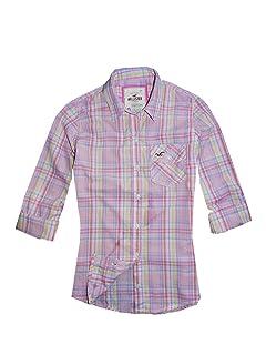 Hollister para mujer Casual Camisa Rosa diseño de cuadros
