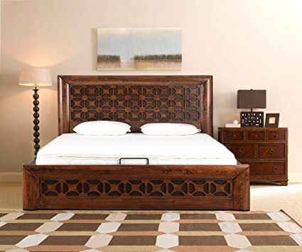 Hometown Casablanca Solid Wood Queen Bed With Hydraulic Storage