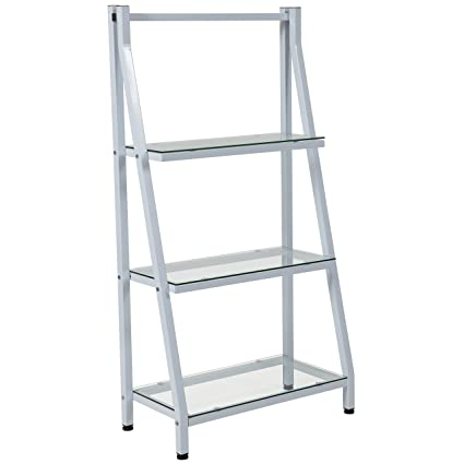 Flash Furniture Winfield Collection Glass Bookshelf With White Metal Frame