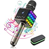 NASUM LED Wireless Karaoke Microphone, Mini Handheld Cellphone Karaoke Player,H8 Karaoke Mic Built in Bluetooth Speaker,Karaoke MIC Machine for Home KTV with Carry Case,2600mAh,Black