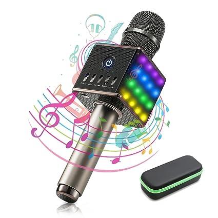 Microphone Sans Fil, NASUM Karaoke Player Bluetooth avec Haut-Parleur Intégré et LED Lampe Coloré Dynamique, Batterie de 2600mAh, Micro Karaoké Portable Bluthooth, Idéal pour KTV Bar Party Voyage NOIR