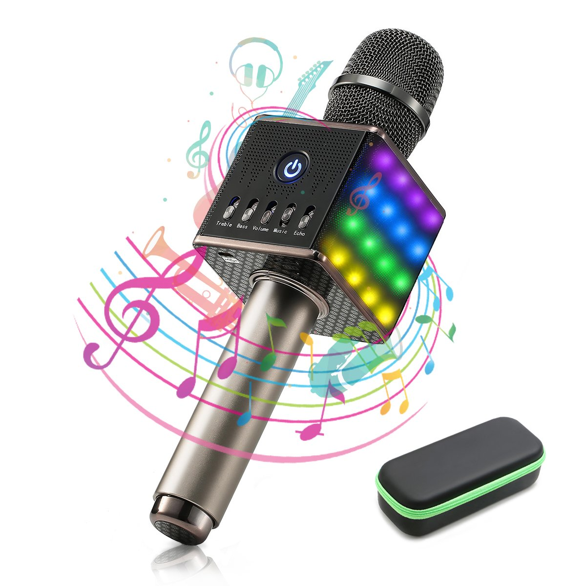 NASUM LED Wireless Karaoke Microphone, Handheld Cellphone Karaoke Player,H8 Karaoke Mic Built in Bluetooth Speaker,Karaoke MIC Machine for Home KTV with Carry Case,2600mAh,Black