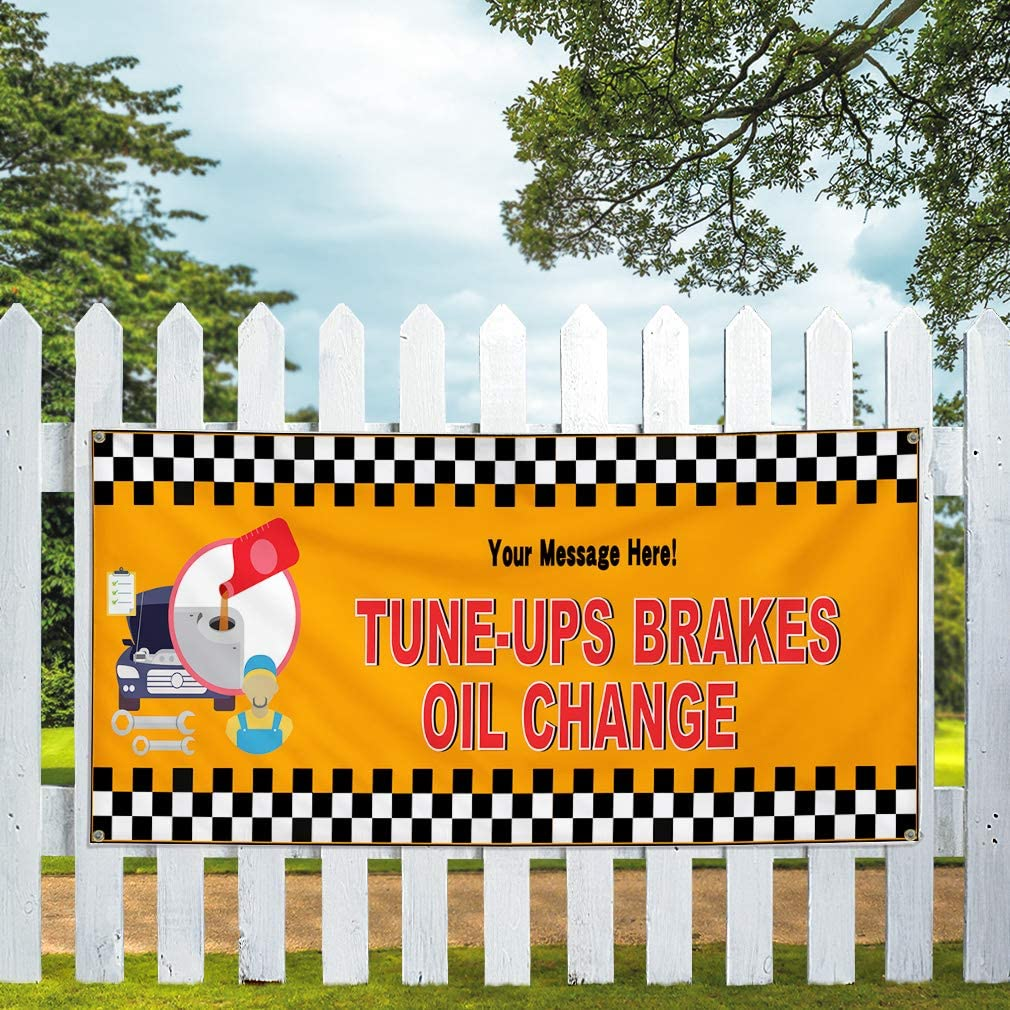 Custom Industrial Vinyl Banner Multiple Sizes Tune-Up Brakes Oil Change B Personalized Text Here Automotive Outdoor Weatherproof Yard Signs Red 6 Grommets 36x90Inches