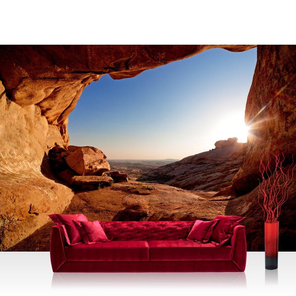 Vlies Fototapete 350x245 cm PREMIUM PLUS Wand Foto Tapete Wand Bild Vliestapete - VIEW FROM THE MOUNTAIN - Berg Landschaft Natur Mesa Arch Canyon Bergwelt Berge - no. 034