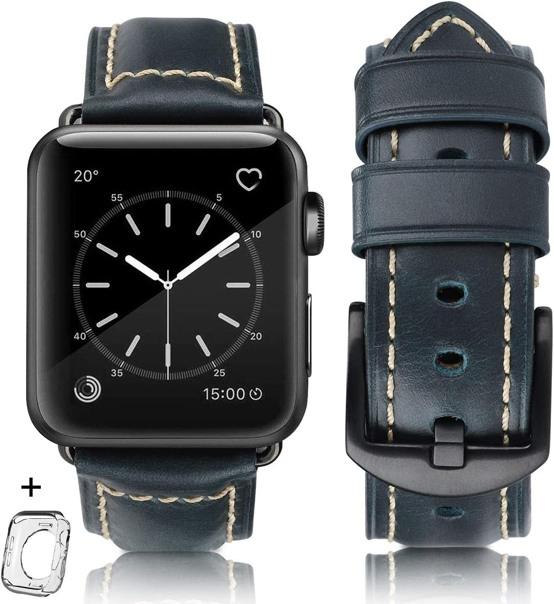 HUAFIY Compatible Watch Band 42mm 44mm mens, Top Grain Leather Band Replacement Strap iWatch Series 5/ 4/ 3/ 2/ 1,Sport, Edition. New Retro discoloured Leather ( Retro deep blue+Black Buckle, 42mm 44mm)