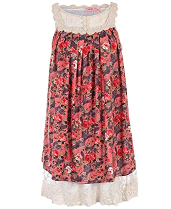 ed63e6a512f 3402-RED-ML  Robe Tunique Estivale Fleurie BrodÃe Coton Manches Courtes   Amazon.co.uk  Clothing