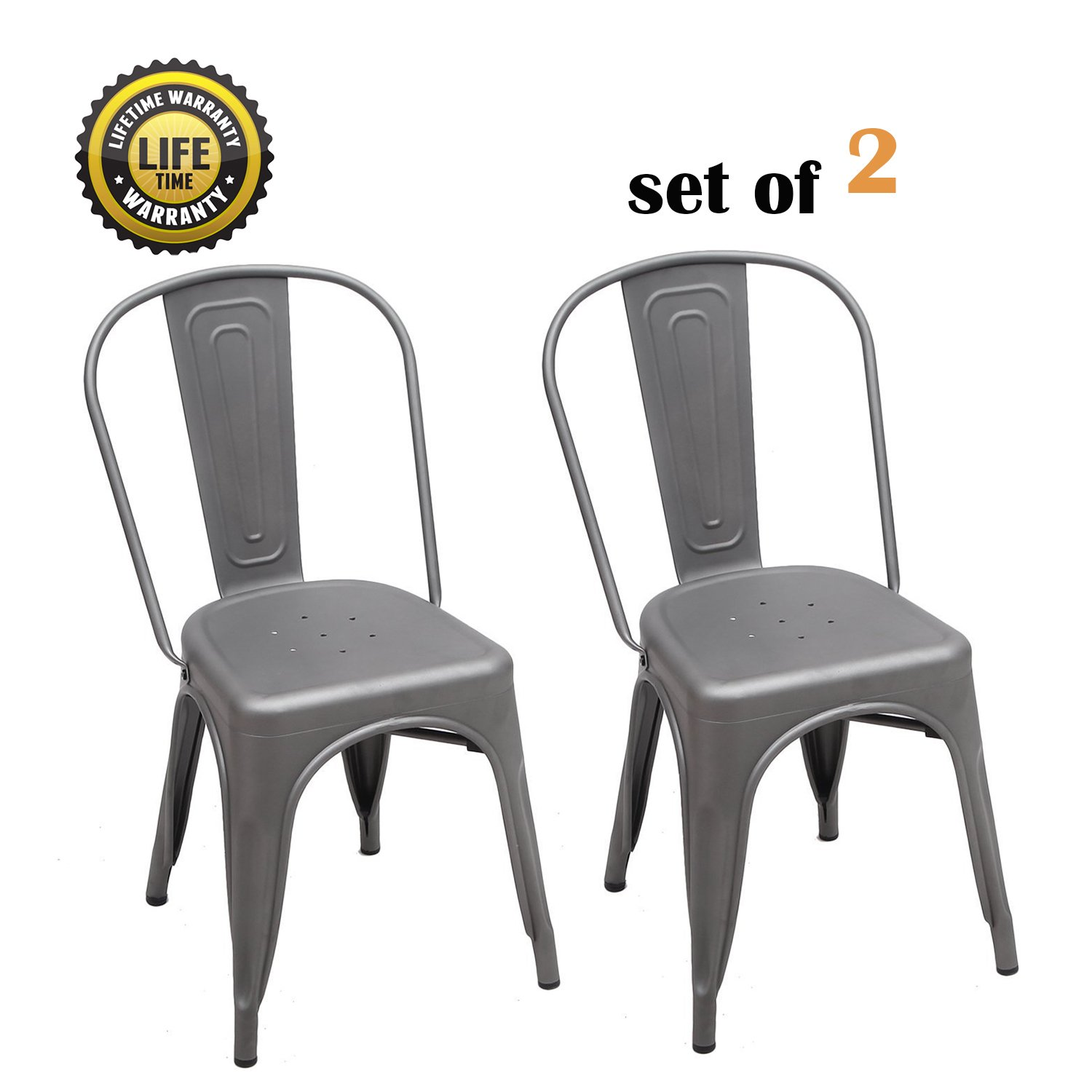 DecentHome Metal Stackable Tolix Style Dining Side Chairs Set of 2 Antique Grey