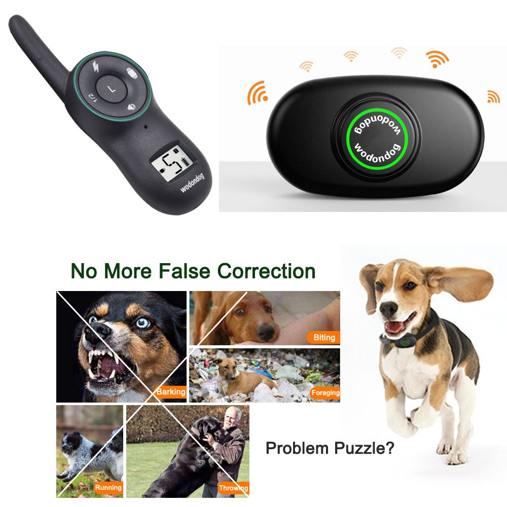 Dog Training Collar Remote – Rechargeable Waterproof Collar Receiver Training Devices for Small Medium Large Dogs with Tone Vibration Electrostatic Shock, Light LCD Screen, 400M Range, Dogs Over 10lbs
