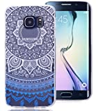 Roreikes Coque pour Samsung Galaxy S6 Edge, Crystal Case Cover Silicone TPU avec Indian Sun Conception de couverture de cas couvertures clair transparent peau de couverture de protection de coque de protection pour Samsung Galaxy S6 Edge - Bleu