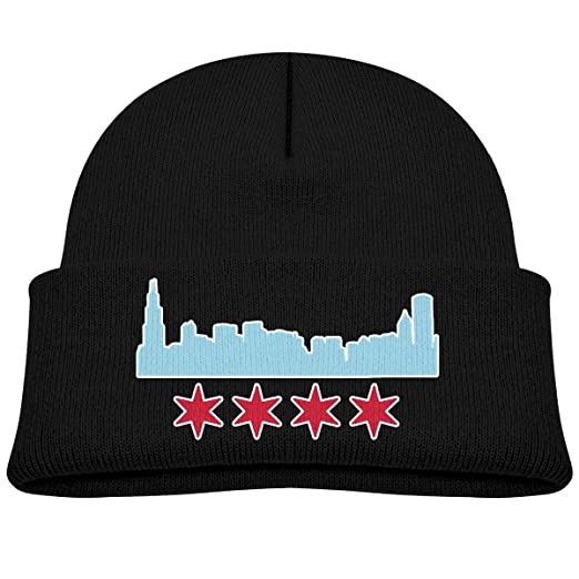 575f6c36552 XKAWPC Chicago Flag with Buildings Skyline Knitted Hat Soft Skull Beanies  Boys Girls Cuffed Plain Cap