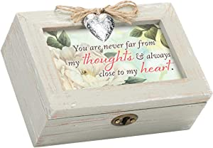 Cottage Garden Always Close Heart Natural Wood Locket Petite Music Box Plays That's What Friends are for