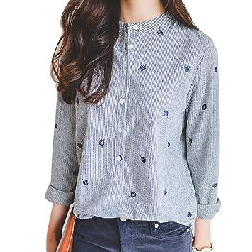 Blusas Elegantes Para Mujer Camisa Del Botón Casual Blusa Tops Camiseta gris S