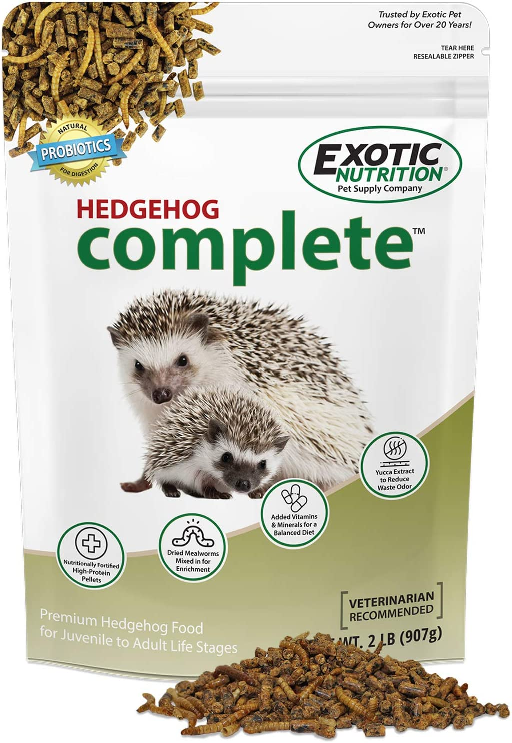 Hedgehog Complete 2 lb - Nutritionally Complete Natural Healthy High Protein Pellets & Dried Mealworms - Food for Pet Hedgehogs