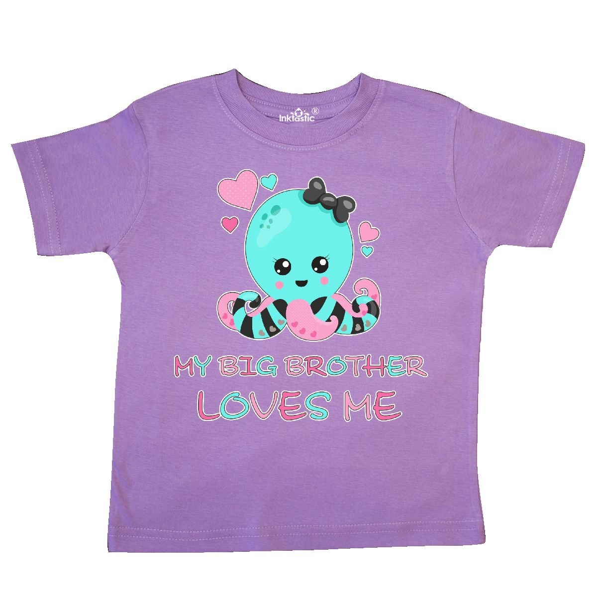 inktastic My Big Brother Loves Me with Flowers and Hearts Baby T-Shirt