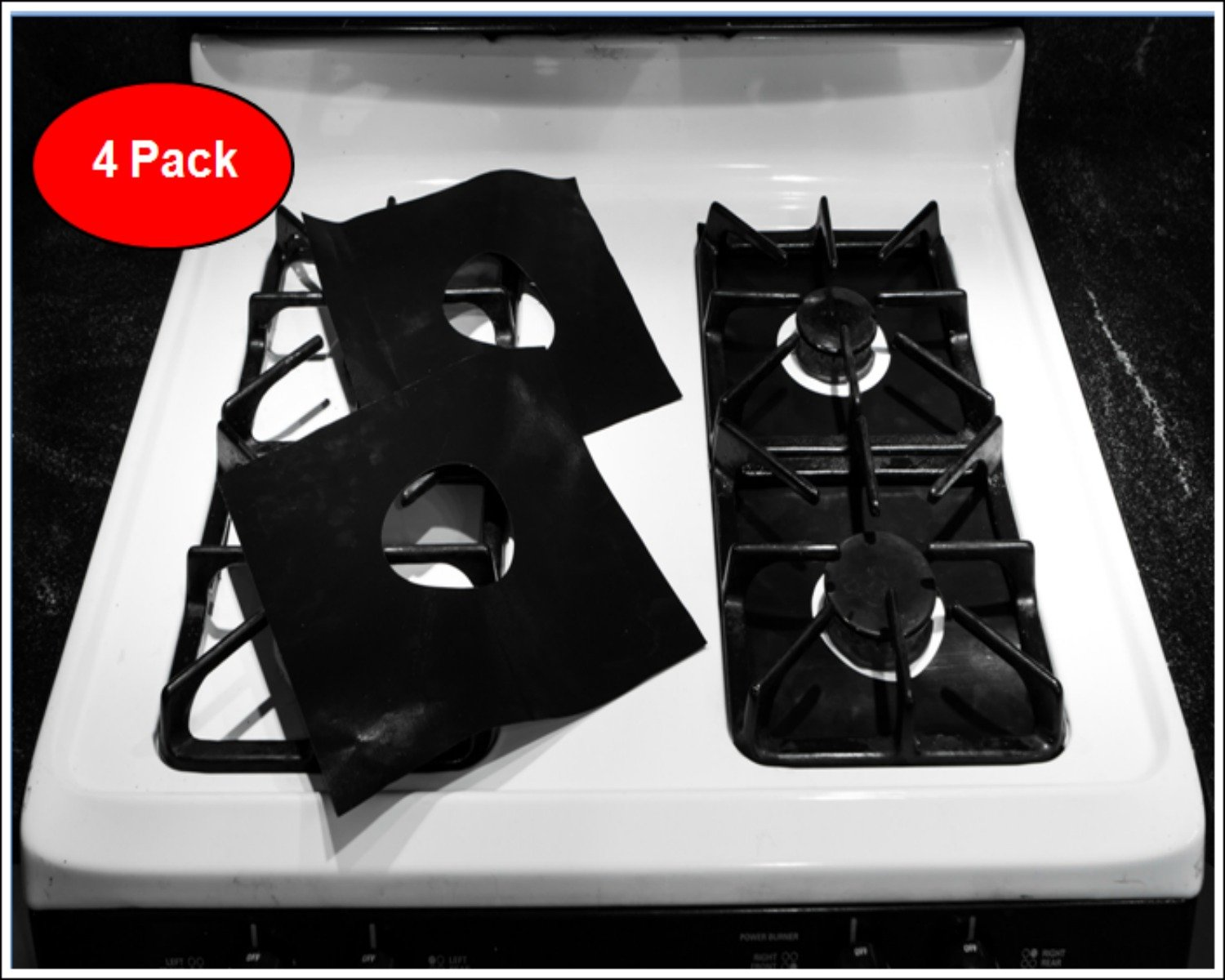 Experience a Betty Crooker Kitchen! Set of 4 PTEF Non-Stick Fiberglass Gas Range Burner Covers Keeps Your Gas Stove Top Looking Ready for a Photo Shoot!