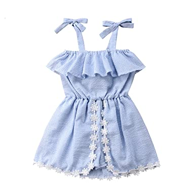 c8c97f626 Amazon.com: Baby Lace Dress Girl Wedding Baby Kids Girls Off Shoulder Strap Dress  Clothes Outfits Summer Dress Girl Vestido Infantil: Clothing