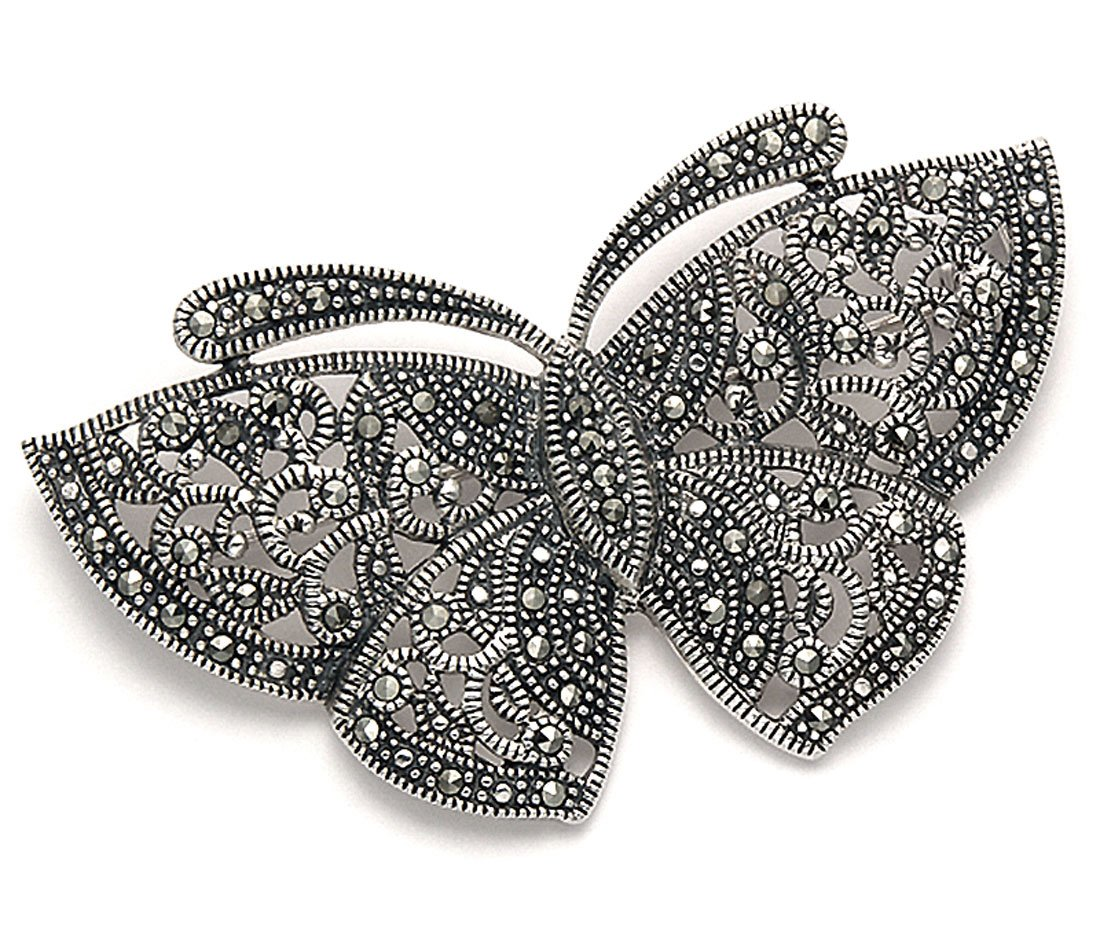 Sterling Silver and Marcasite Modern Style Filigree Butterfly Pin by Wild Things