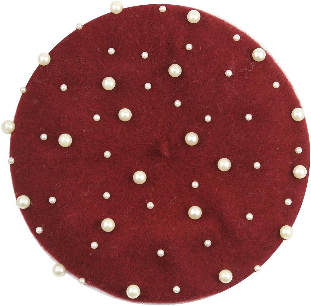 MINAKOLIFE Damen Franz/ösisch K/ünstler Solide 100/% Wolle Baskenm/ütze mit Full Pearl