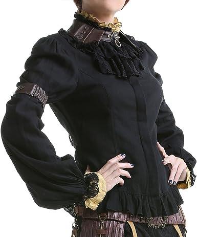 RQ-BL Camisa Negra con buche Piel sintética Negro Large ...