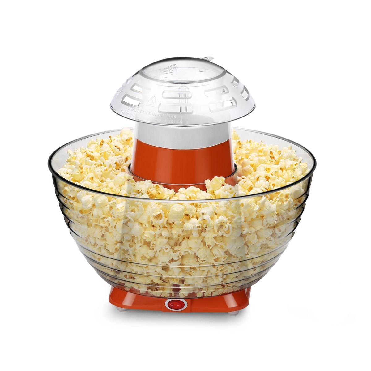 Home Kitchen Electric Popcorn Machine, Hot Air-pop Popper Corn Maker 16 Cups Family Size of Popcorn with Collapsible Bowl, No Oil Needed, Easy Cleaning & Simple to Use (Orange)