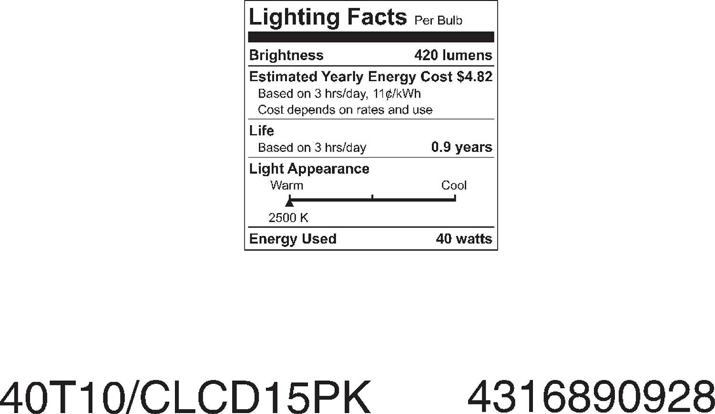 Ge 45514 40-Watt Claro Tubular 5-Pack GE Lighting