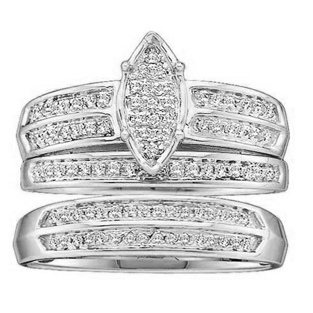 Dazzlingrock Collection 0.25 Carat (ctw) 14K Round Diamond Men & Women's Engagement Ring Trio Set 1/4 CT, White Gold by Dazzlingrock Collection
