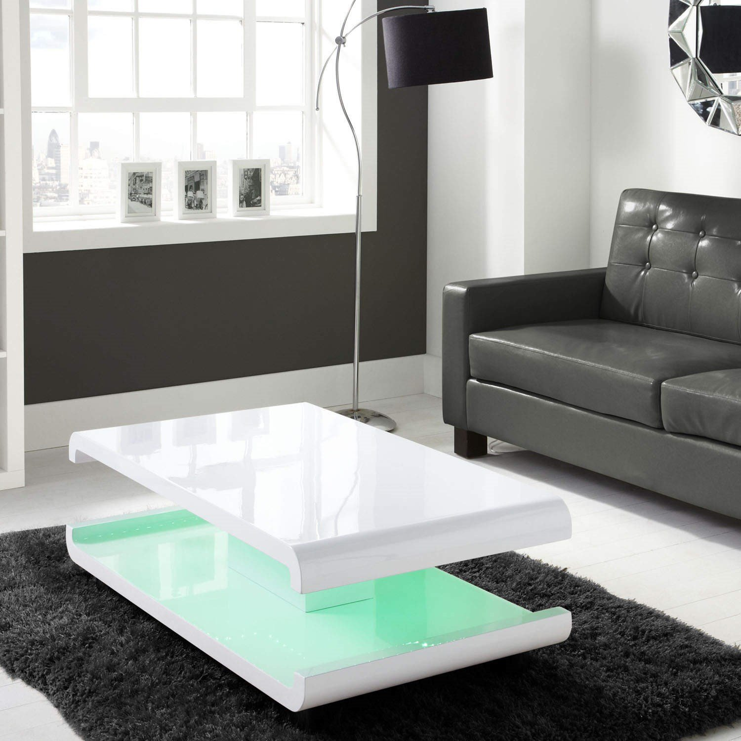 Tiffany White High Gloss Coffee Table with LED Lighting Amazon