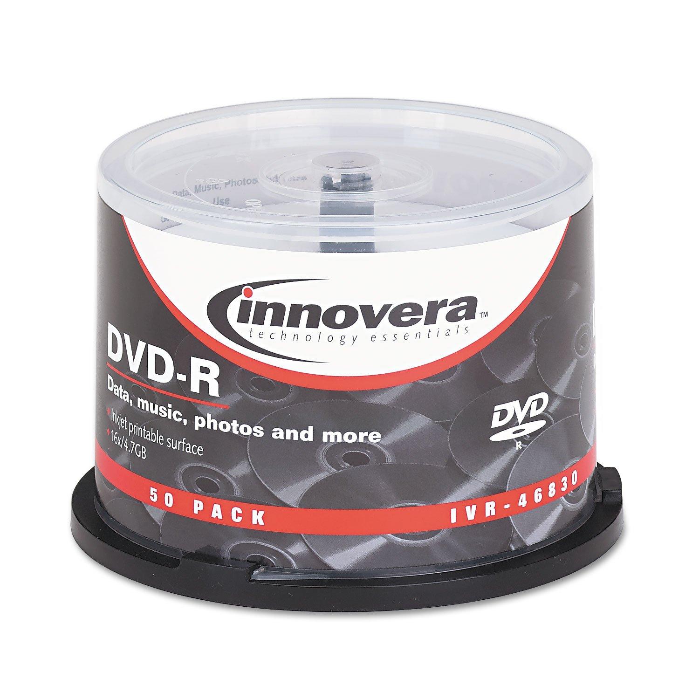 Innovera 46830 DVD-R Discs, Hub Printable, 4.7Gb, 16X, Spindle, Matte White, 50 per Pack