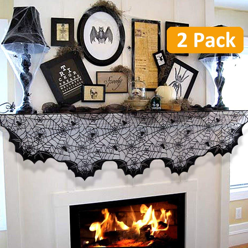 2 Pack Vintage Halloween Decorations Indoor Black Lace Runner Spiderweb Fireplace Mantle Scarf Cover - Holloween Home Décor Cobweb Bat Valance - Window Door Wall Porch Decorations - Party Accessories Foogles