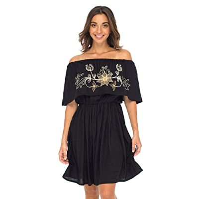 Back From Bali Womens Off Shoulder Boho Embroidered Dress Short Ruffle Beach Sundress at Amazon Women's Clothing store