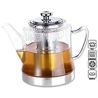Rosenstein & Söhne Teezubereiter: 2in1-Glas-Teebereiter & Teekanne für alle Herde, auch Induktion, 1,5 l (Teekanne für Induktionsherd)