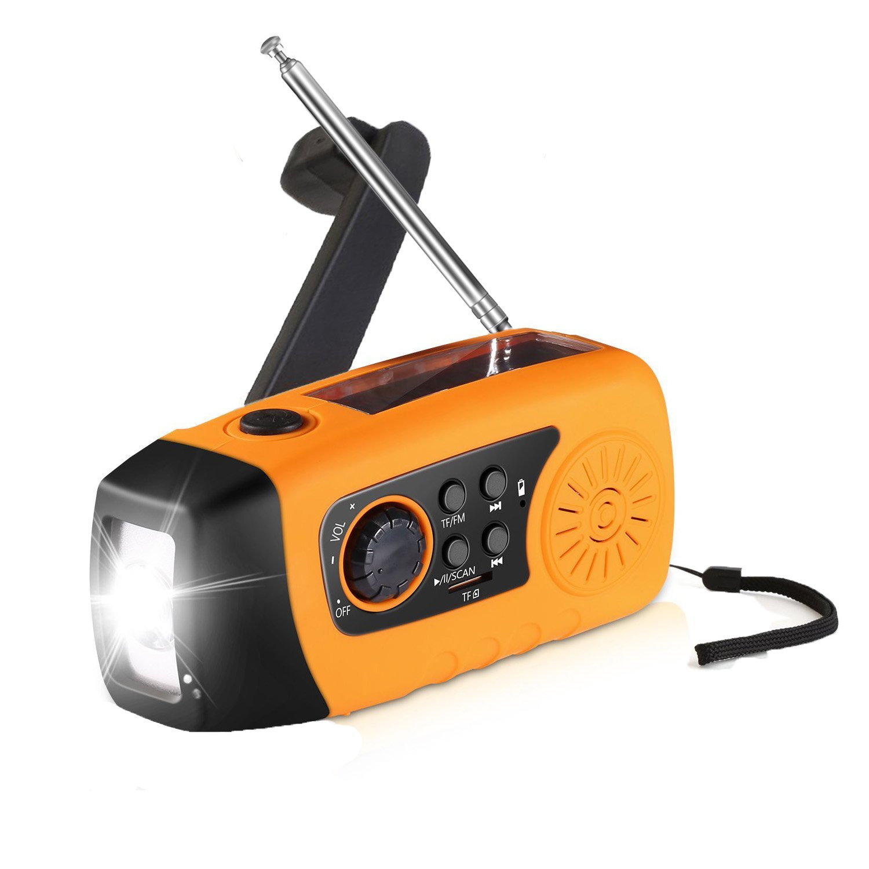 YINXN Emergency Radio Hand Crank Self Powered AM/FM NOAA Solar Weather Radio with LED Flashlight, MP3 Player and 2000mAh Power Bank