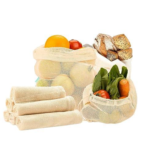 Bolsas para Frutas y Verduras de 6 Piezas, Bluesialia Bolsas con Mallas de Algodón Orgánico 100% Reutilizable y Lavable de 6 Piezas