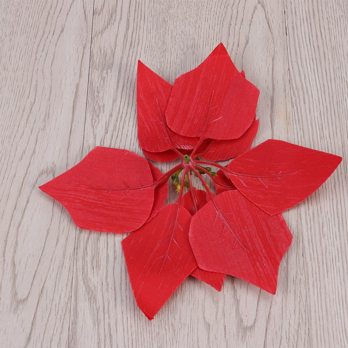 Amazon Vorcool 50pcs Artificial Poinsettia Floral Heads