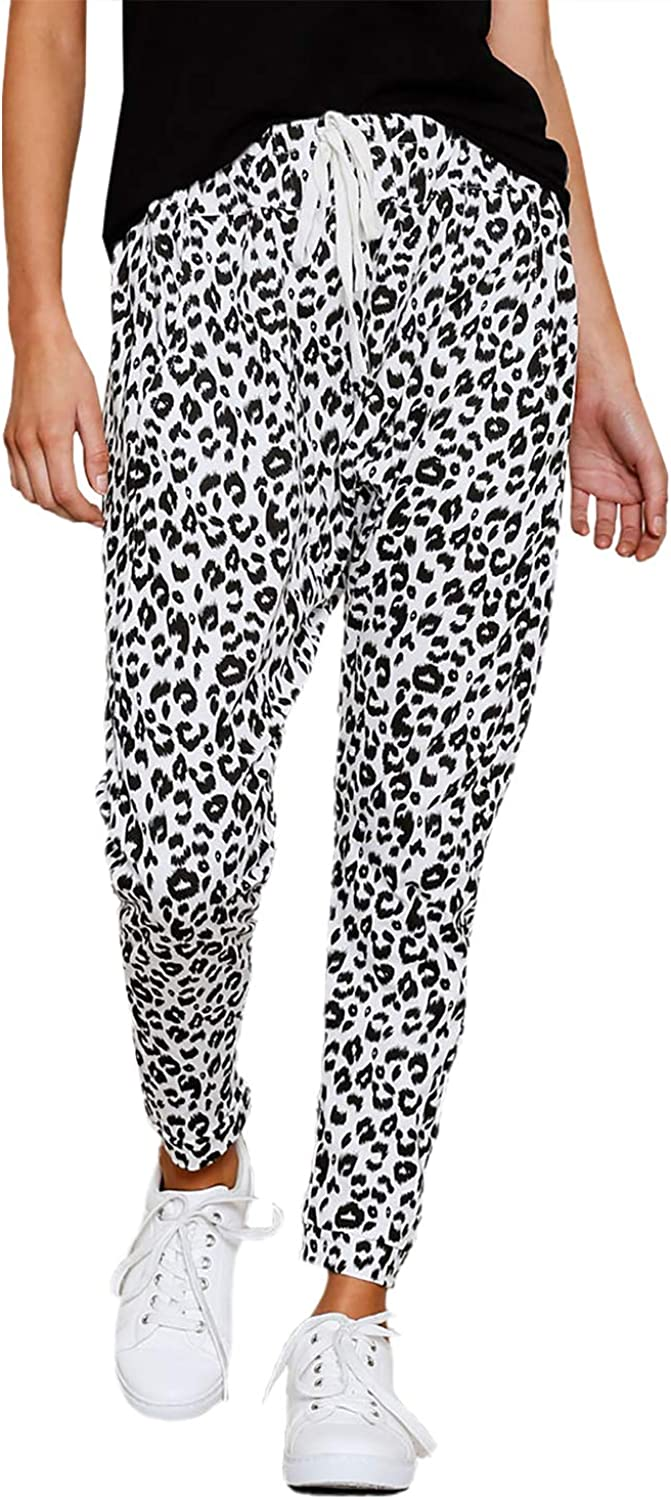 Dearlove Womens Casual Trousers Leopard Print Elasticated Waist Drawstring Sweatpants with Pockets
